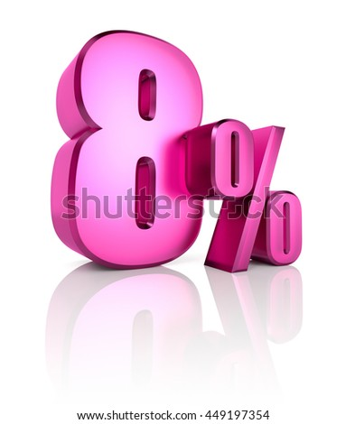 Pink eight percent sign isolated on white background. 3d rendering - stock photo