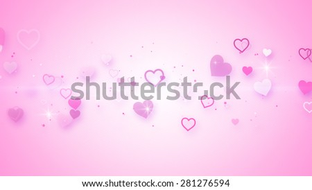 pink elegant hearts. Computer generated abstract illustration - stock photo