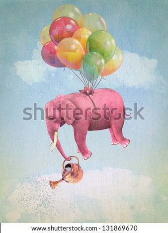 Pink elephant in the sky with a watering can. Illustration - stock photo