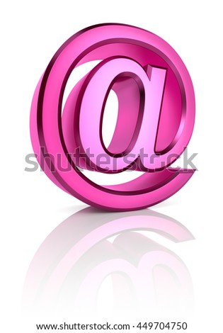 Pink email symbol isolated on white background. 3d rendering - stock photo