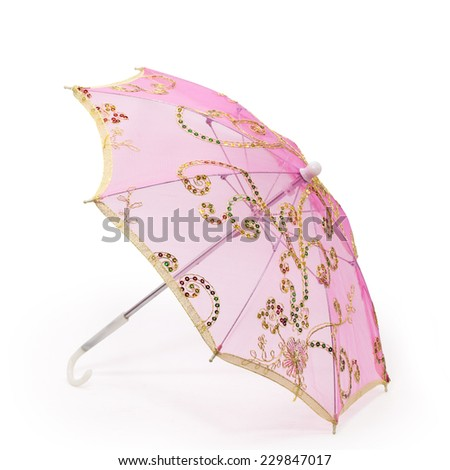 pink embroidery umbrella isolated on white background