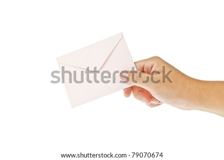 Pink envelop with hand isolated on white background - stock photo