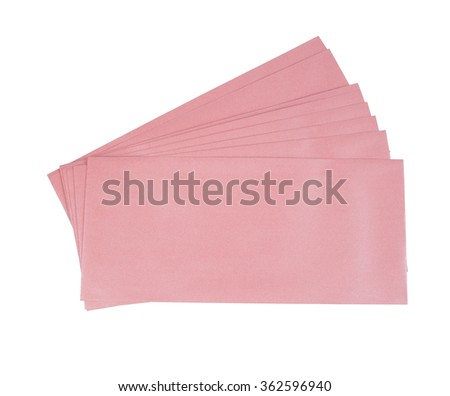 pink envelope isolated on white background.