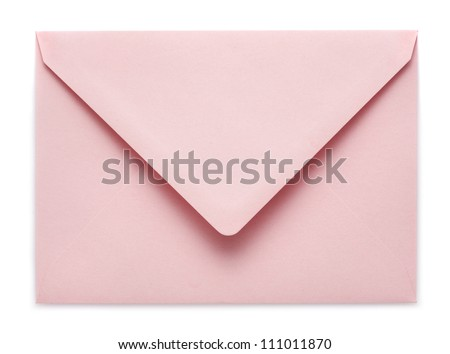 pink envelope on white background - stock photo
