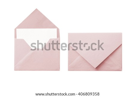 Pink envelope with blank white card isolated on white background  - stock photo