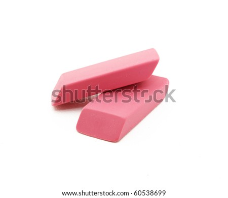 Pink Erasers Stacked On Each Other - stock photo