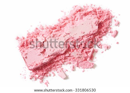 Pink eye shadow crushed isolated on white background - stock photo