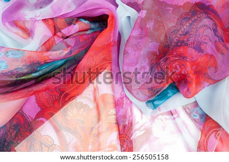 Pink fabric. texture. Photographed in the studio - stock photo