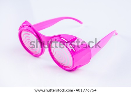 Pink fancy glasses on white background - stock photo