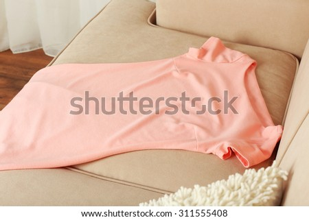 Pink female dress on sofa in room