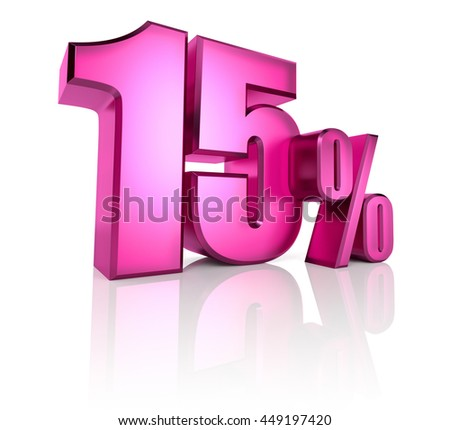 Pink fifteen percent sign isolated on white background. 3d rendering - stock photo