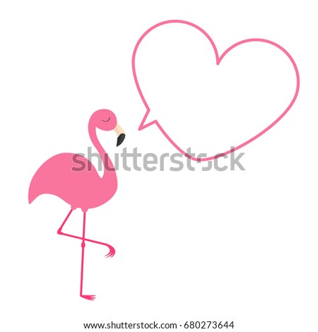 Pink flamingo exotic tropical bird zoo stock vector 672399967 pink flamingo heart frame talking bubble template exotic tropical bird zoo animal collection pronofoot35fo Images