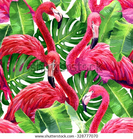 Pink flamingo, monstera leafs, palm leaf. Seamless tropical summer pattern. Exotic textile. - stock photo