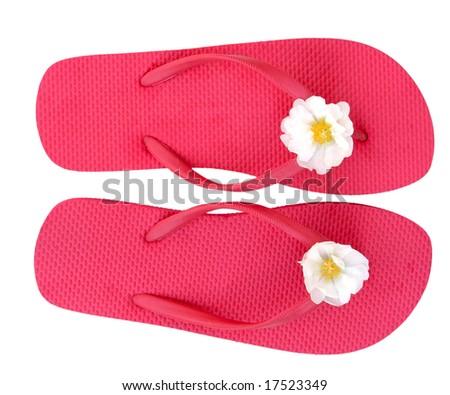 Pink flip flop isolated on white background - stock photo