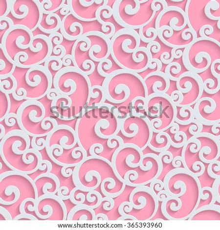 Pink Floral 3d Seamless Pattern Background. Curl Decoration For Wallpaper or Romantic Invitation Card. Swirl Design