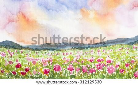 pink flower field landscape watercolor on paper - stock photo
