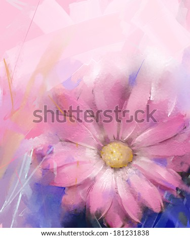 Pink flower.Gerbera flower oil painting - stock photo