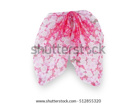Pink flower handkerchief  isolated on white background. This has clipping path.