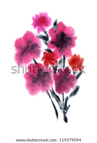 Pink flower painted in Watercolor with yellow elements - stock photo