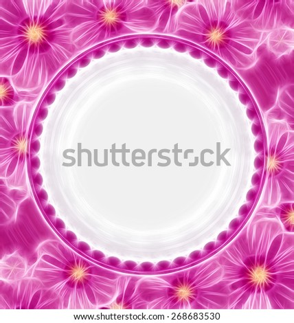 pink flowers background with white circle - stock photo