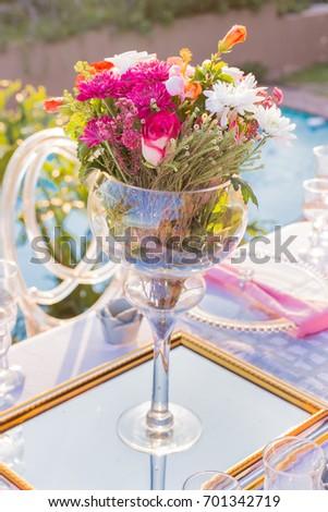 Pink Flowers Large Wine Glass Vase Stock Photo Royalty Free