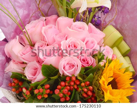 pink flowers of wedding - stock photo