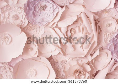 Pink flowers paper background pattern lovely style. Rose made from paper. - stock photo