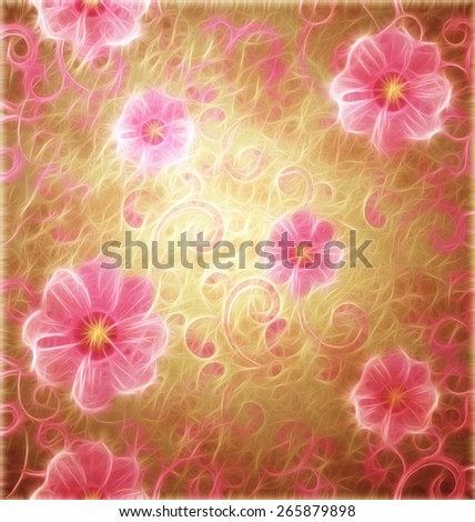 pink flowers romantic spring vintage background, love and cute - stock photo