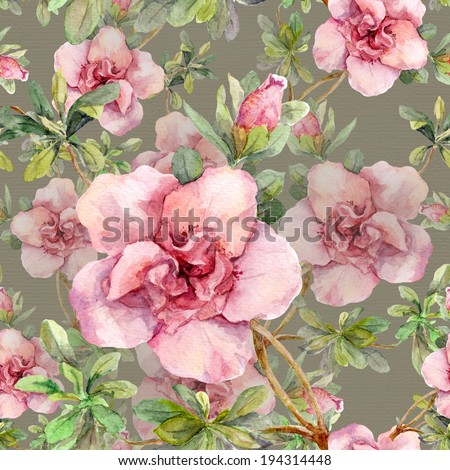 Pink flowers. Seamless repeated floral pattern. Watercolour hand art on grey background - stock photo