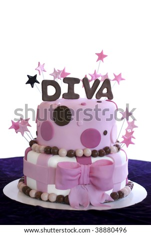 Pink fondant covered two-tier cake with the word Diva spelled out in brown fondant and pink stars. - stock photo