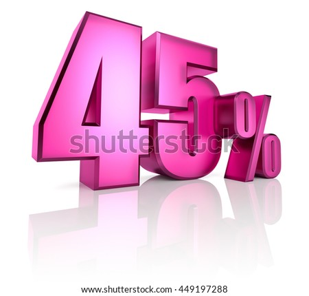 Pink forty five percent sign isolated on white background. 3d rendering - stock photo