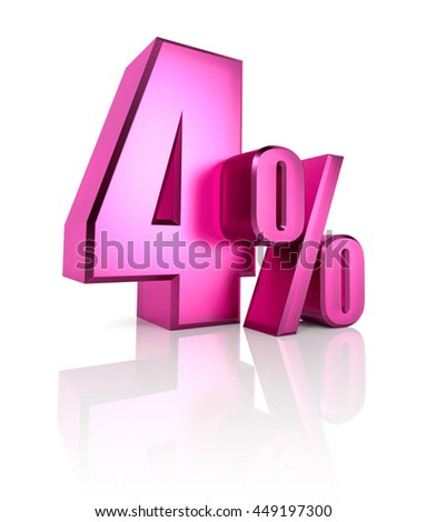 Pink four percent sign isolated on white background. 3d rendering - stock photo