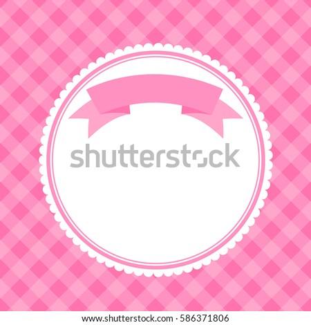 Pink Frame Invitation Card Ribbon Raster Stock Illustration ...