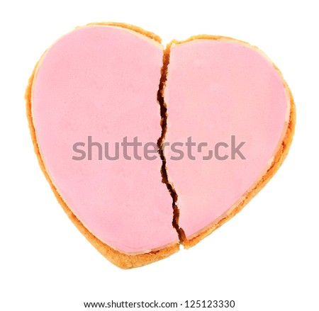 Pink Frosted Heart Cookie - Fractured Heart - stock photo