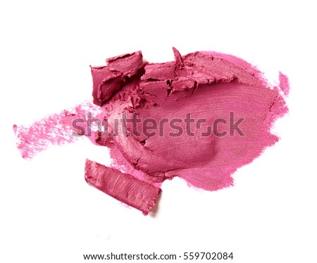 pink fuchsia crashed lipstick isolated on white background