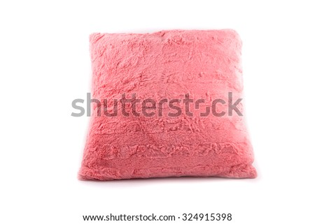 pink fur pillow isolated on white background - stock photo
