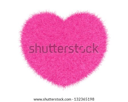 Pink furry heart on white background 3d render - stock photo
