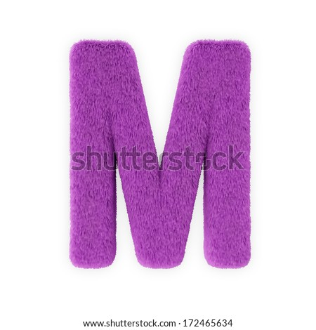 Pink Furry Letters isolated on a white background (Letter M) - stock photo