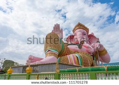 Pink ganesha statue at Nakhonnayok, Thailand - stock photo