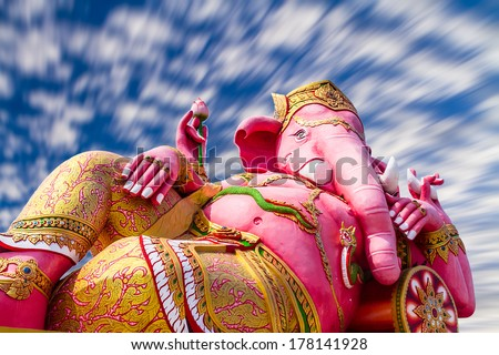 Pink ganesha statue at Wat Samarn, Chachoengsao, Thailand  - stock photo