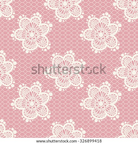 Pink gentle seamless floral lace pattern - stock photo