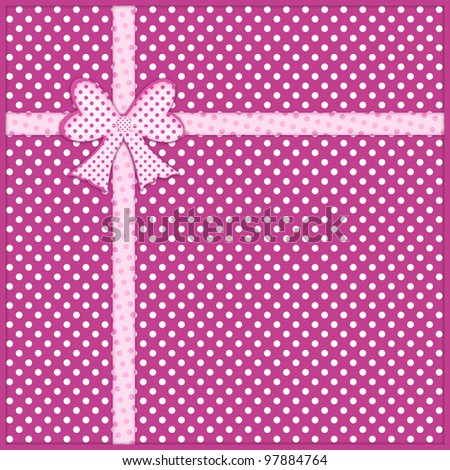 Pink gift bow and ribbon over purple background with white polka dots - stock photo