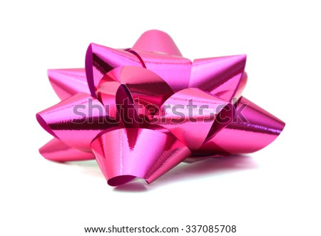 pink gift bow isolated on white background - stock photo