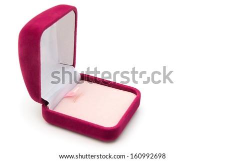 pink gift box opened on white background - stock photo