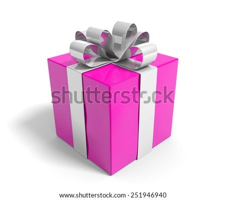 Pink gift box tied with a lovely silver ribbon for Valentines Day