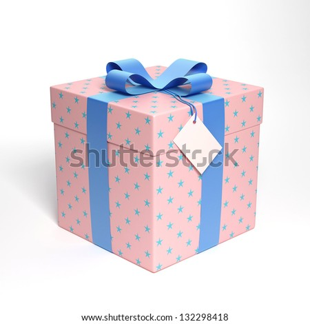 Pink gift box with blue ribbon 3d render - stock photo
