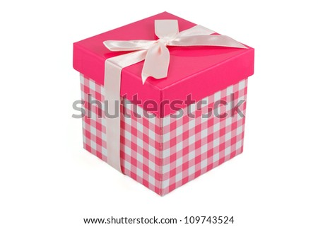 Pink gift box with bow isolated on a white background - stock photo