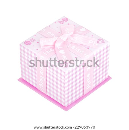 Pink gift box with bow isolated on white background