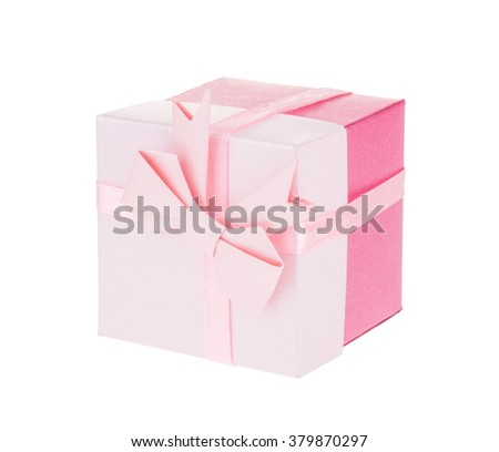 Pink gift box with ribbon bow isolated on white, with clipping path