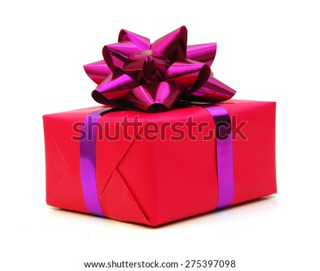 Pink gift box with violet bow.